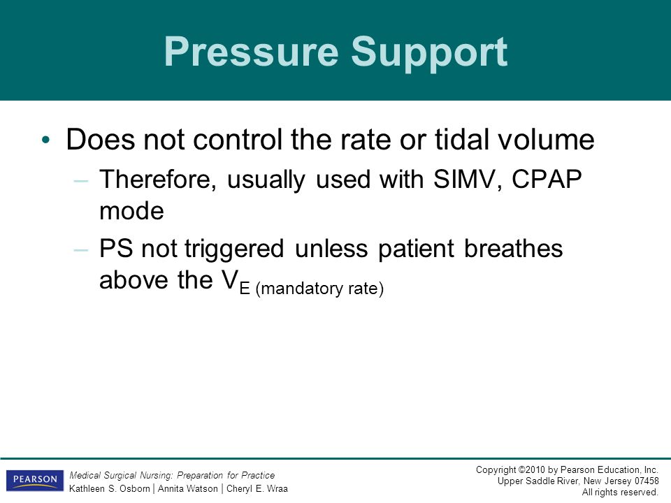 Pressure Support Does not control the rate or tidal volume