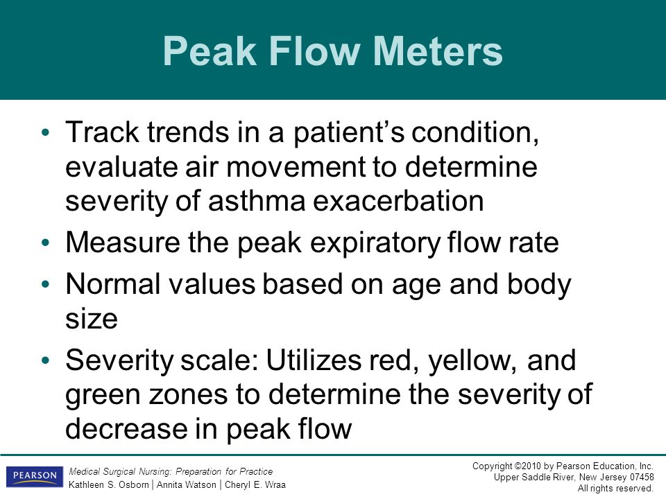 Peak Flow Meters Track trends in a patient's condition, evaluate air movement to determine severity of asthma exacerbation.