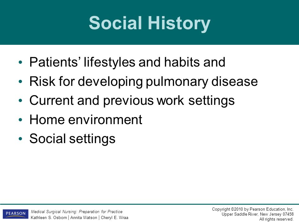 Social History Patients' lifestyles and habits and