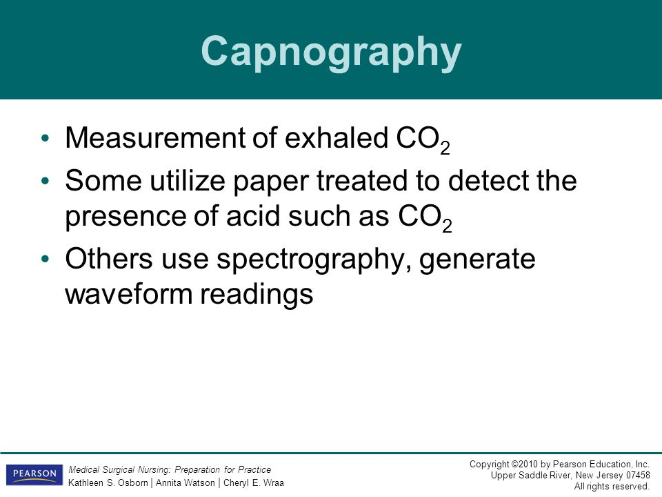 Capnography Measurement of exhaled CO2
