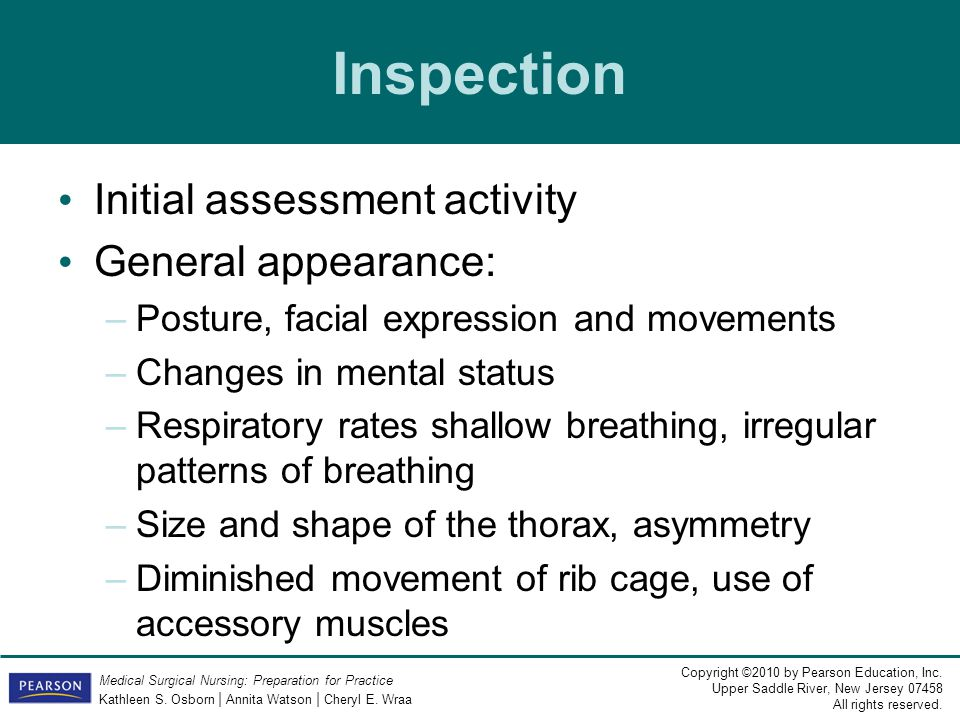 Inspection Initial assessment activity General appearance: