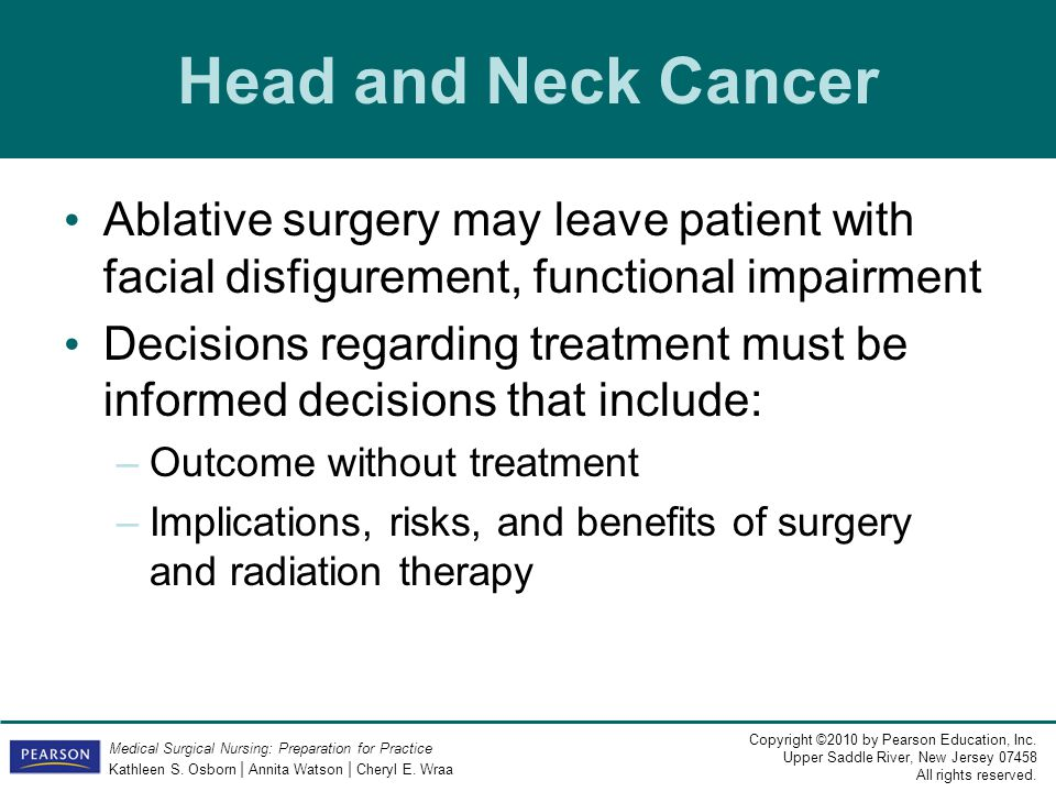Head and Neck Cancer Ablative surgery may leave patient with facial disfigurement, functional impairment.