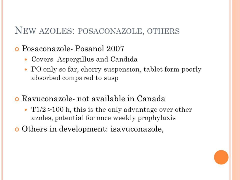 New azoles: posaconazole, others