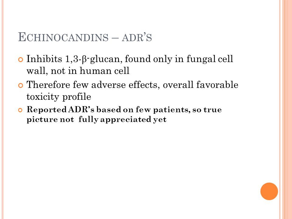 Echinocandins – adr's Inhibits 1,3-β-glucan, found only in fungal cell wall, not in human cell.