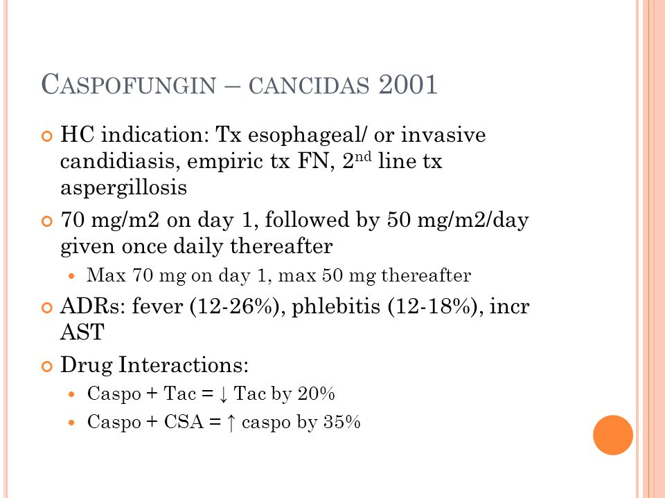 Caspofungin – cancidas 2001