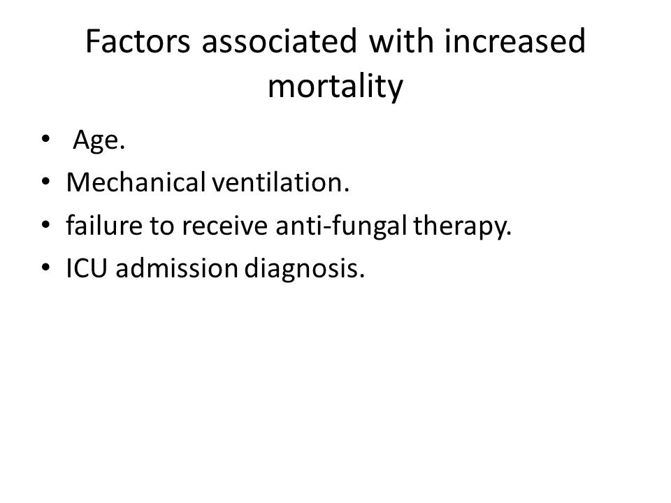 Factors associated with increased mortality