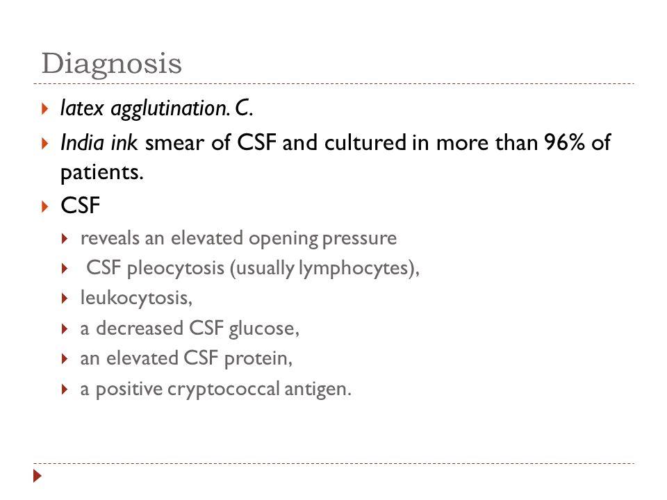 Diagnosis latex agglutination. C.