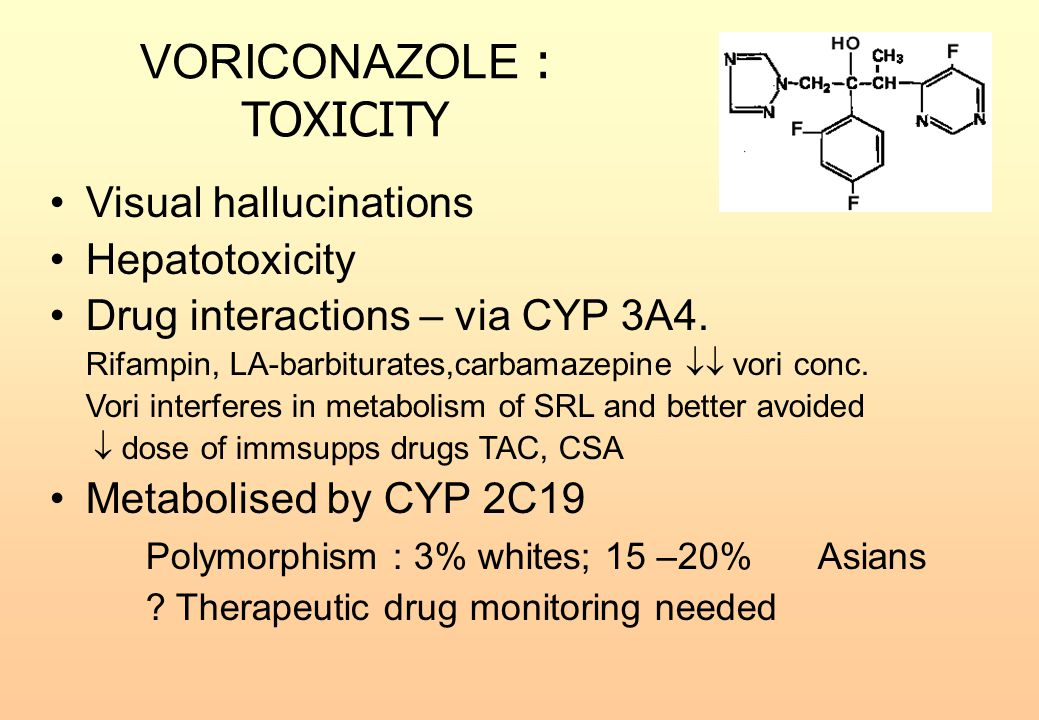 VORICONAZOLE : TOXICITY Visual hallucinations Hepatotoxicity