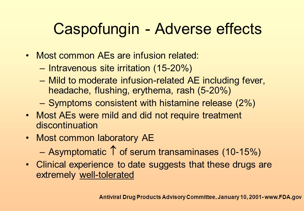 Caspofungin - Adverse effects
