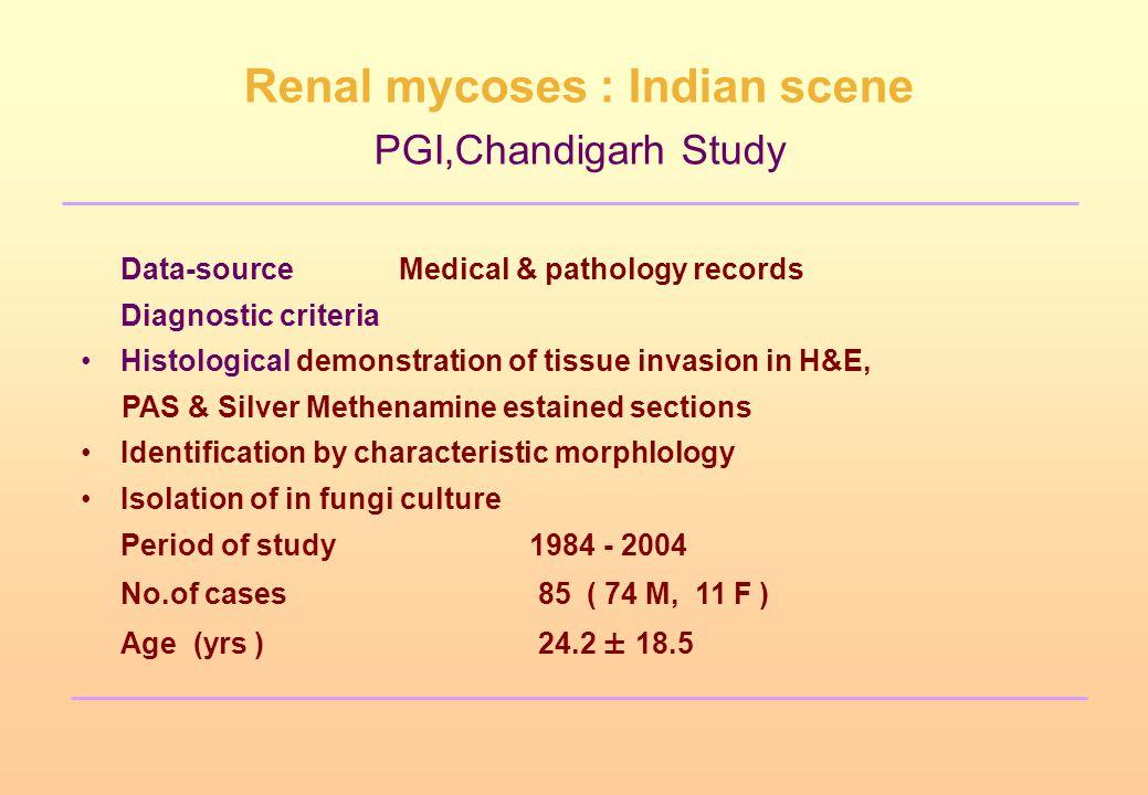 Renal mycoses : Indian scene PGI,Chandigarh Study