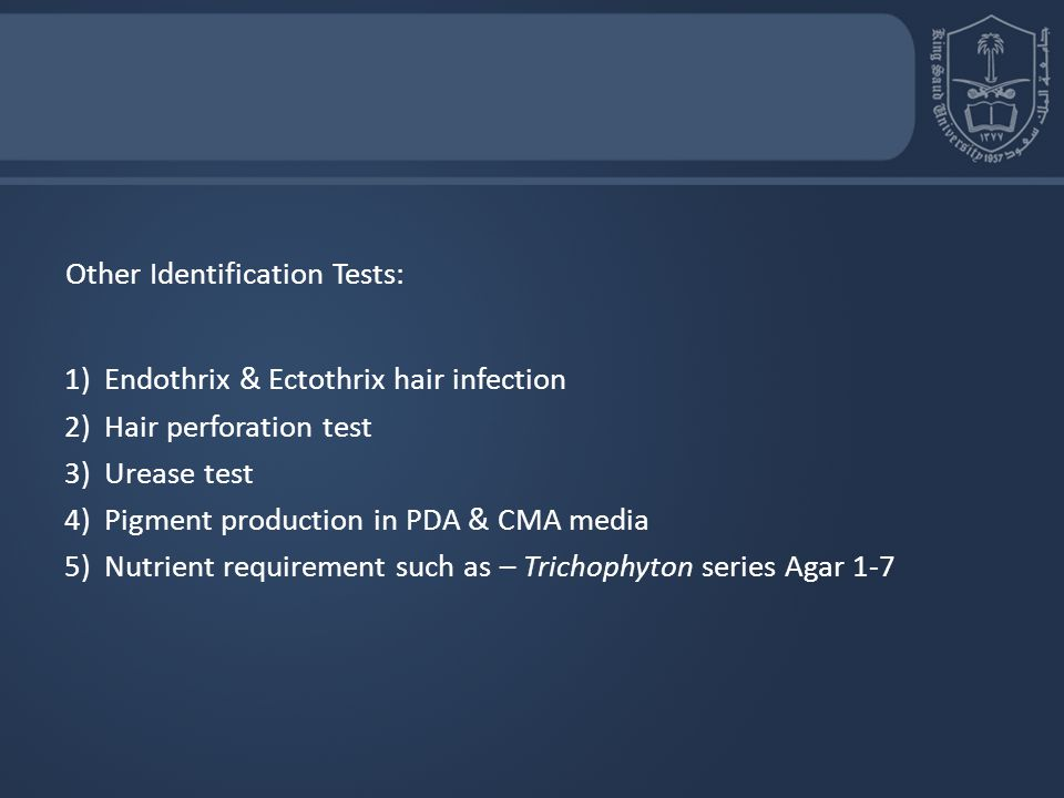 Other Identification Tests: