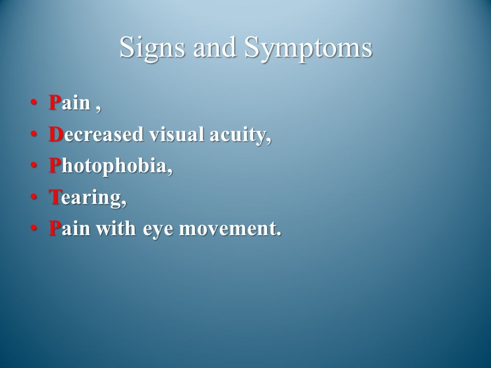 Signs and Symptoms Pain , Decreased visual acuity, Photophobia,