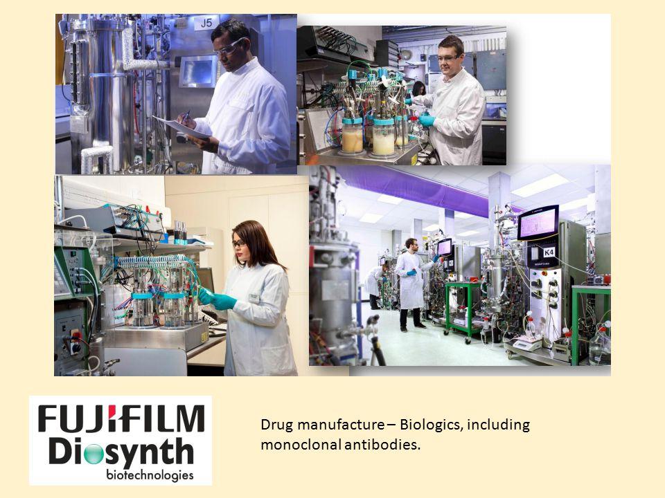 Drug manufacture – Biologics, including monoclonal antibodies.