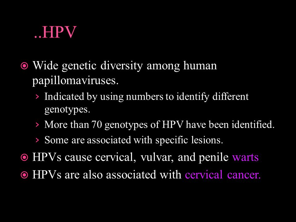 ..HPV Wide genetic diversity among human papillomaviruses.