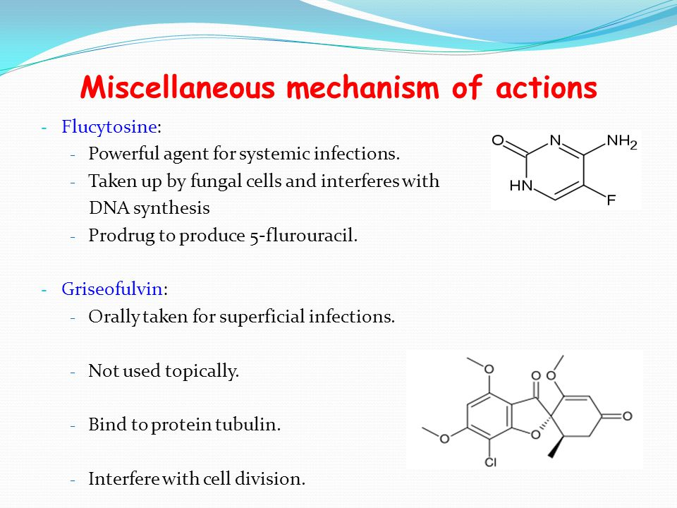 Miscellaneous mechanism of actions