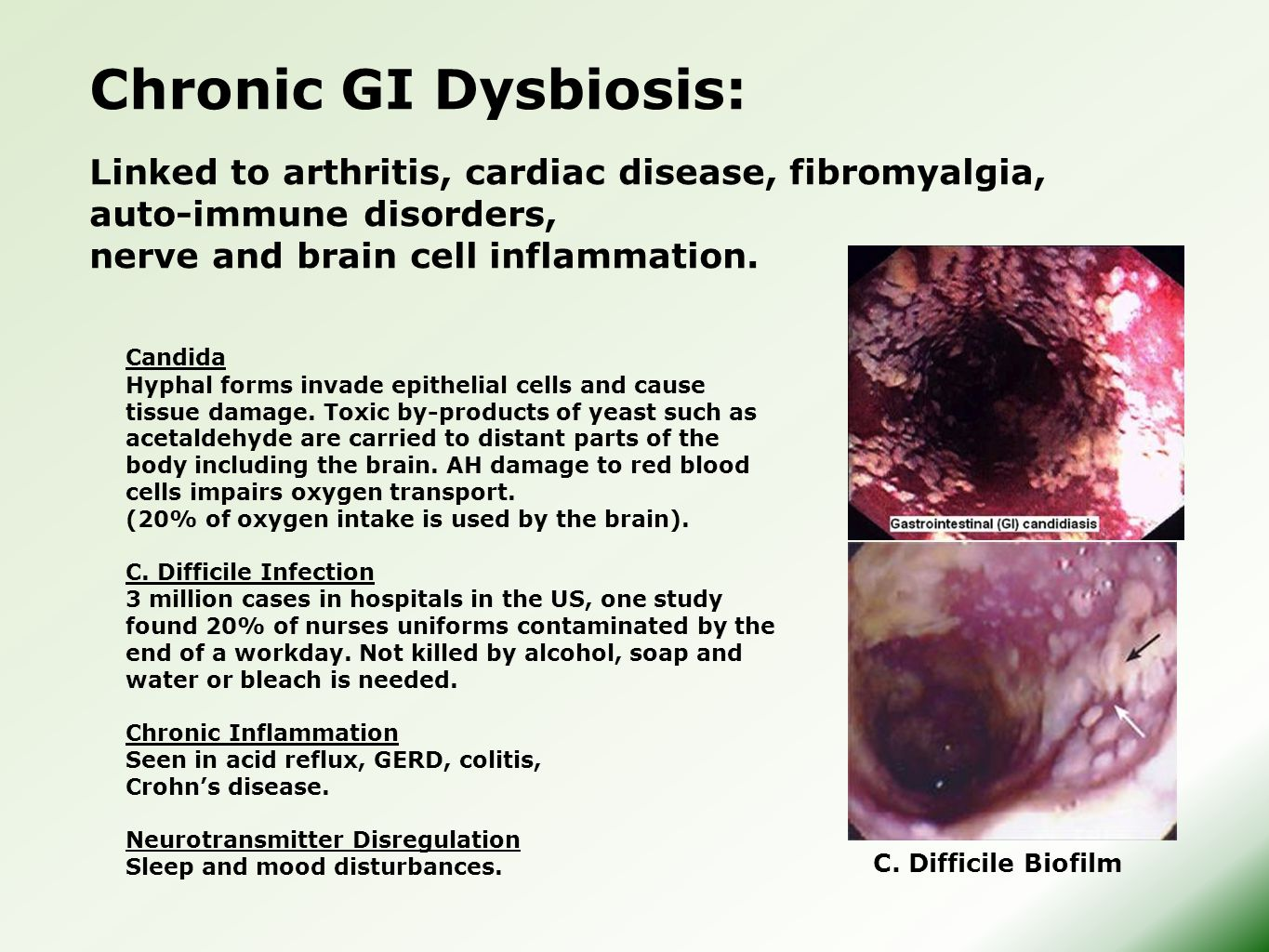 Chronic GI Dysbiosis: Linked to arthritis, cardiac disease, fibromyalgia, auto-immune disorders, nerve and brain cell inflammation.