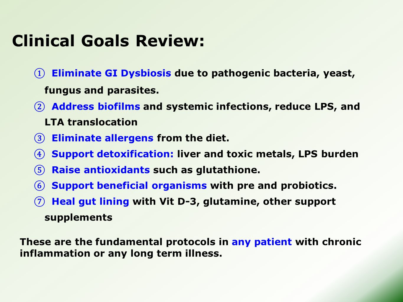 Clinical Goals Review: