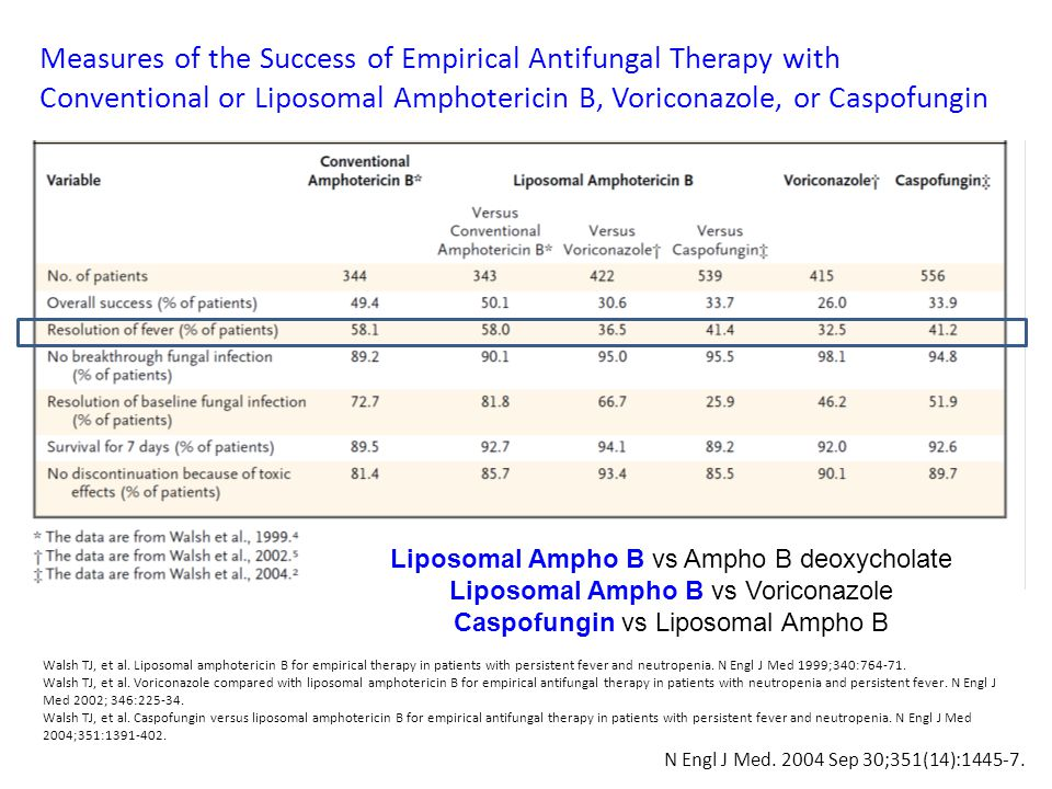 Measures of the Success of Empirical Antifungal Therapy with Conventional or Liposomal Amphotericin B, Voriconazole, or Caspofungin