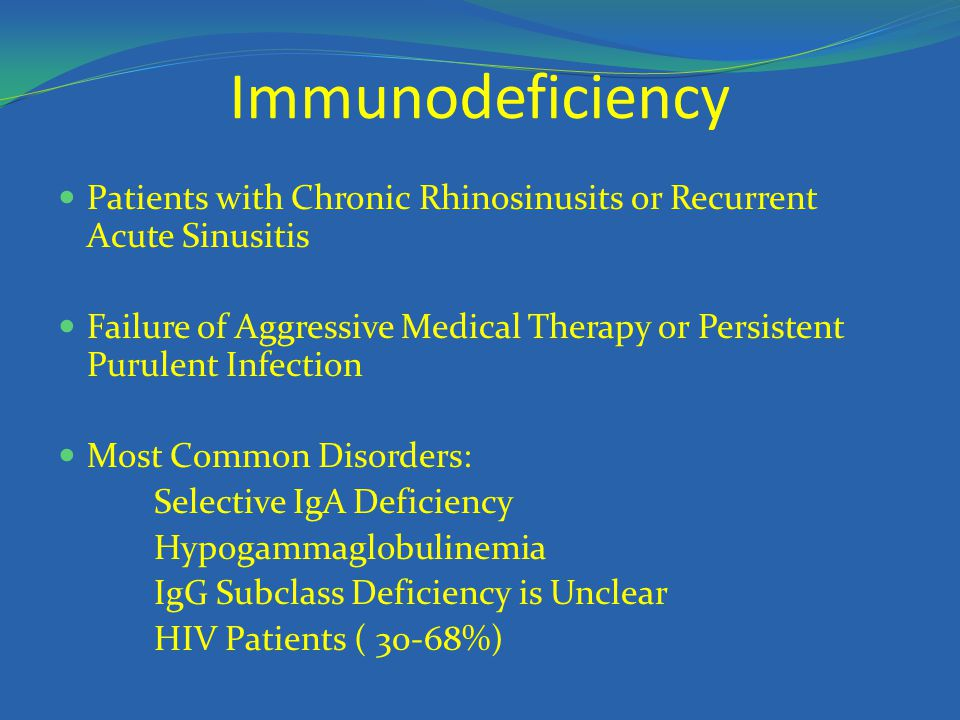 Immunodeficiency Patients with Chronic Rhinosinusits or Recurrent Acute Sinusitis.