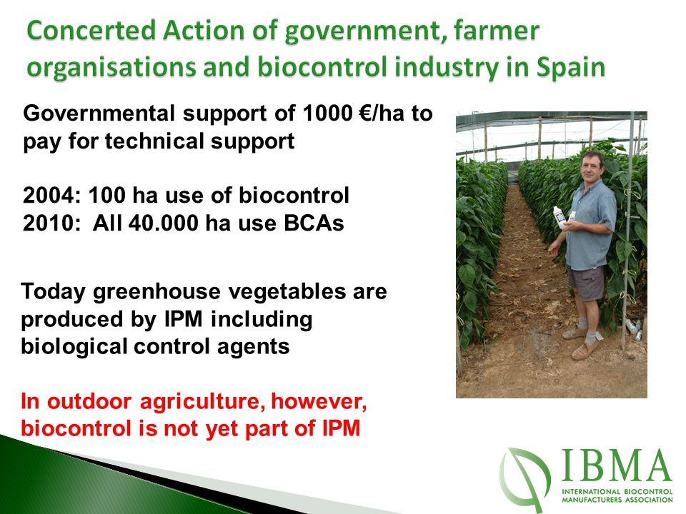 Concerted Action of government, farmer organisations and biocontrol industry in Spain