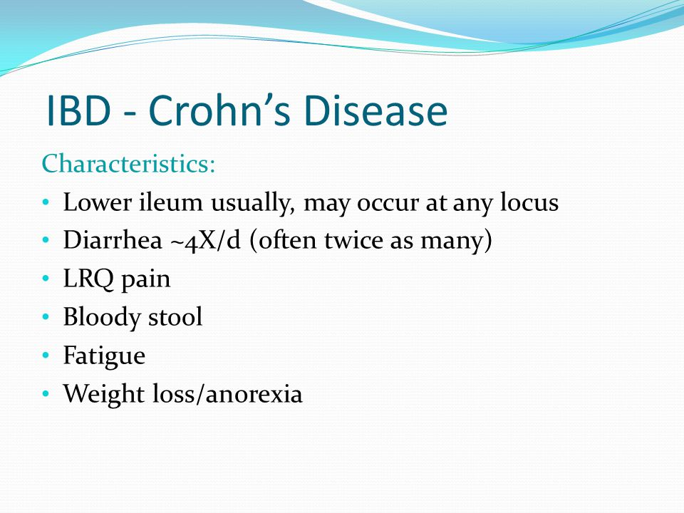 IBD - Crohn's Disease Characteristics:
