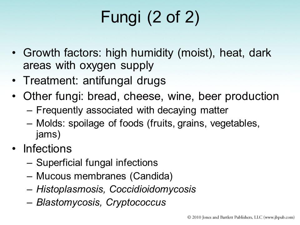 Fungi (2 of 2) Growth factors: high humidity (moist), heat, dark areas with oxygen supply. Treatment: antifungal drugs.