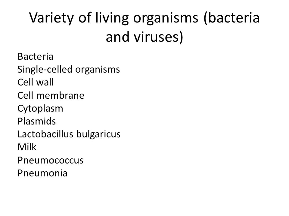 Variety of living organisms (bacteria and viruses)