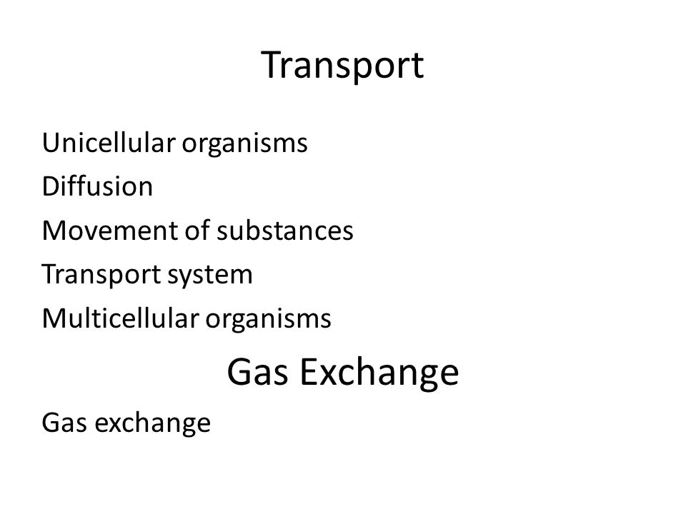 Transport Gas Exchange Unicellular organisms Diffusion