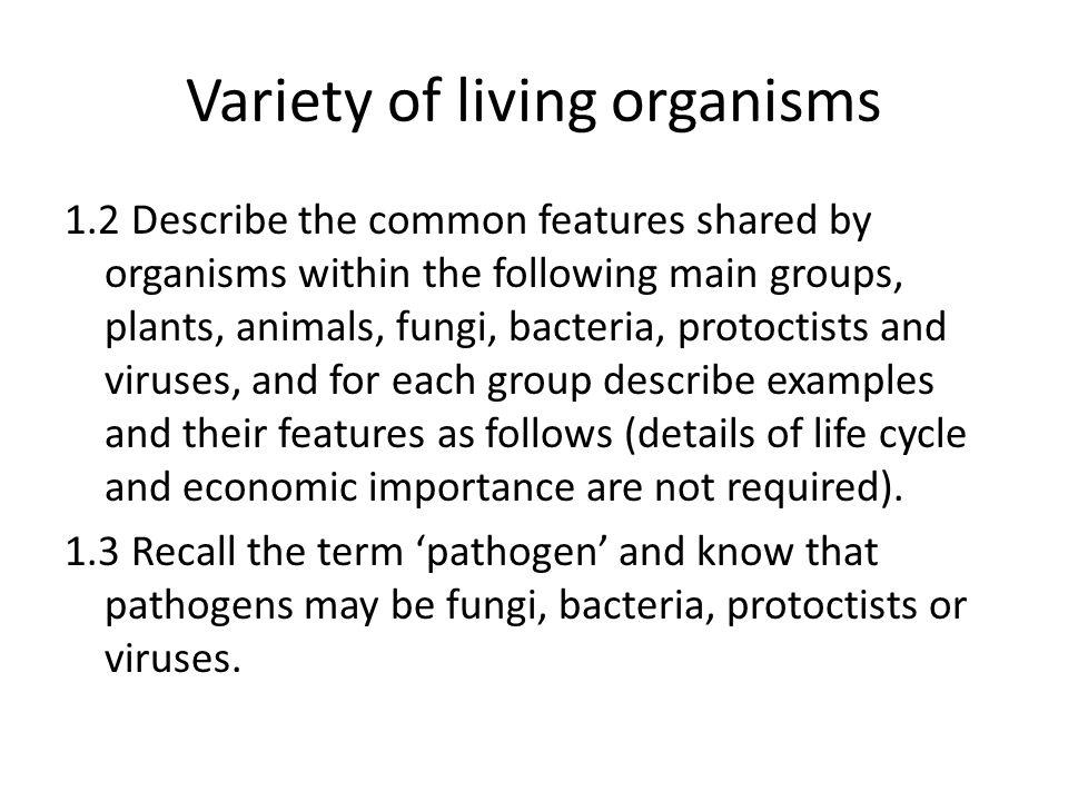 Variety of living organisms