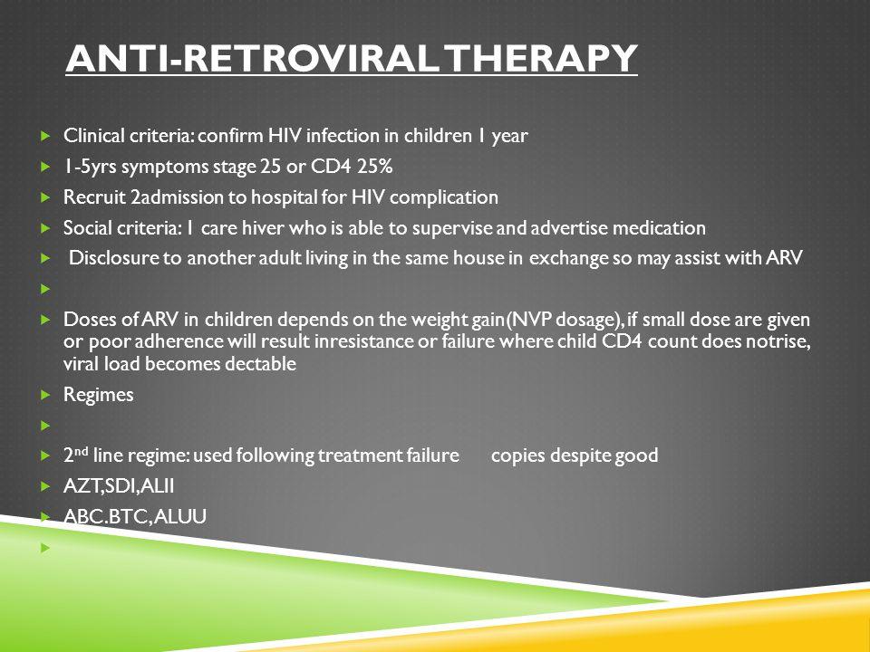 Anti-retroviral therapy