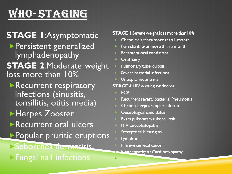 WHO- STAGING STAGE 1:Asymptomatic