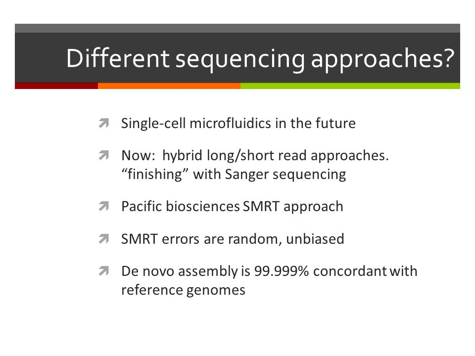 Different sequencing approaches