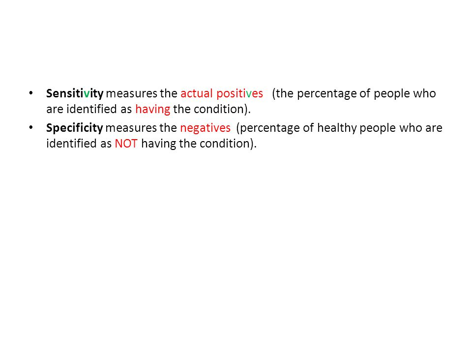 Sensitivity measures the actual positives (the percentage of people who are identified as having the condition).