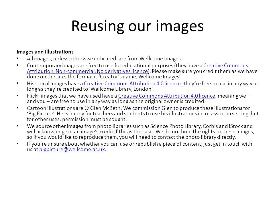 Reusing our images Images and illustrations