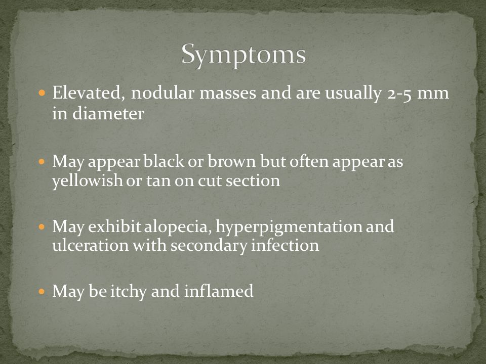 Symptoms Elevated, nodular masses and are usually 2-5 mm in diameter