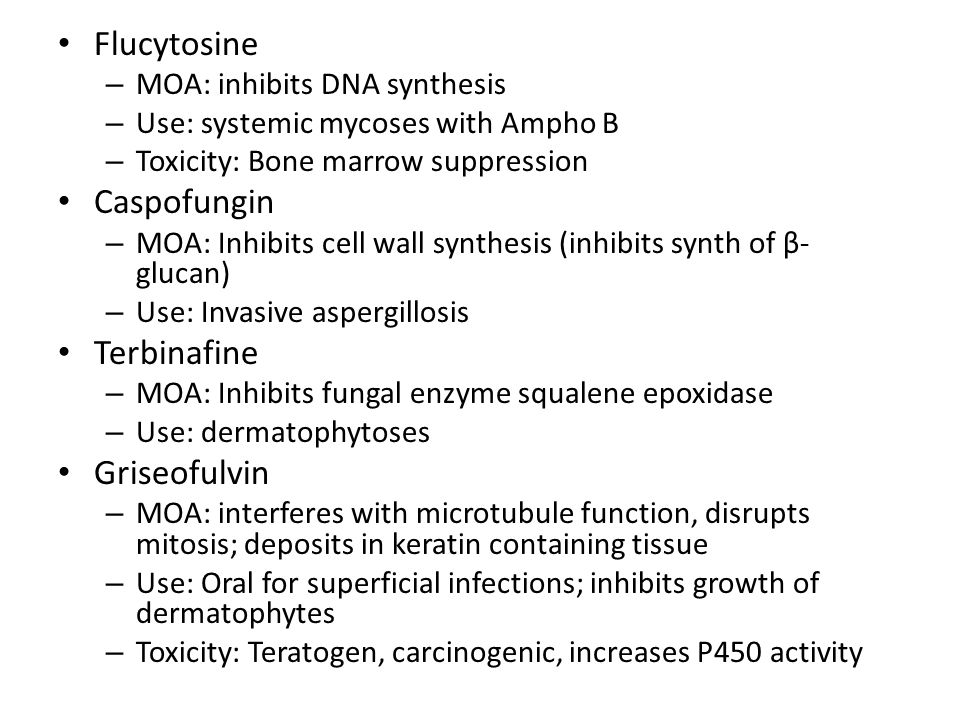 Flucytosine Caspofungin Terbinafine Griseofulvin