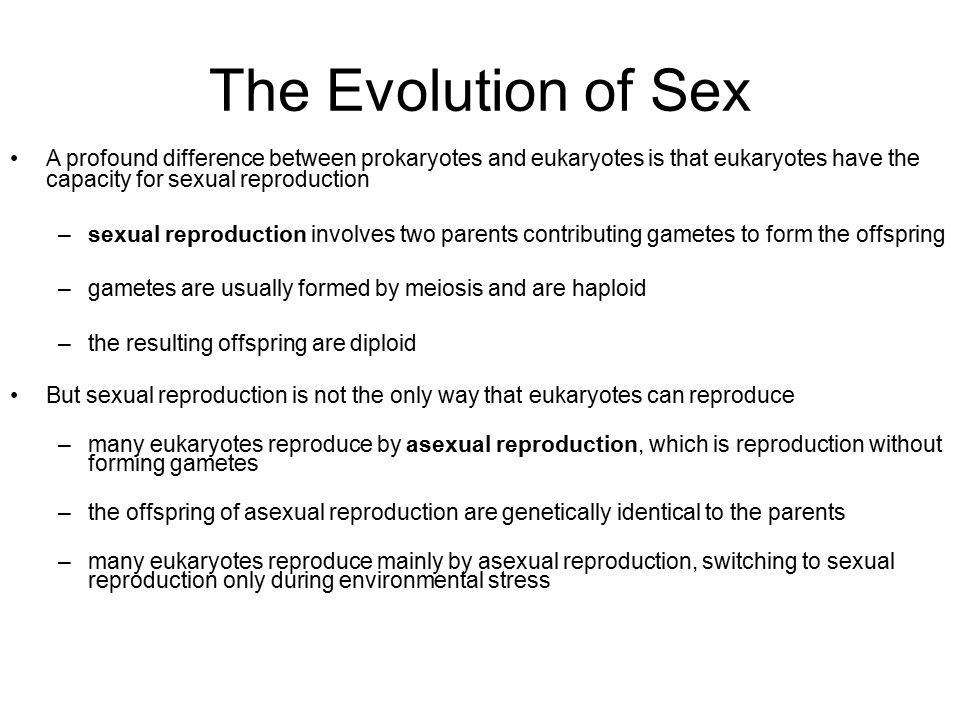 The Evolution of Sex A profound difference between prokaryotes and eukaryotes is that eukaryotes have the capacity for sexual reproduction.