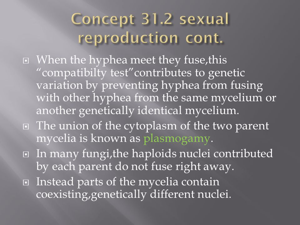 Concept 31.2 sexual reproduction cont.