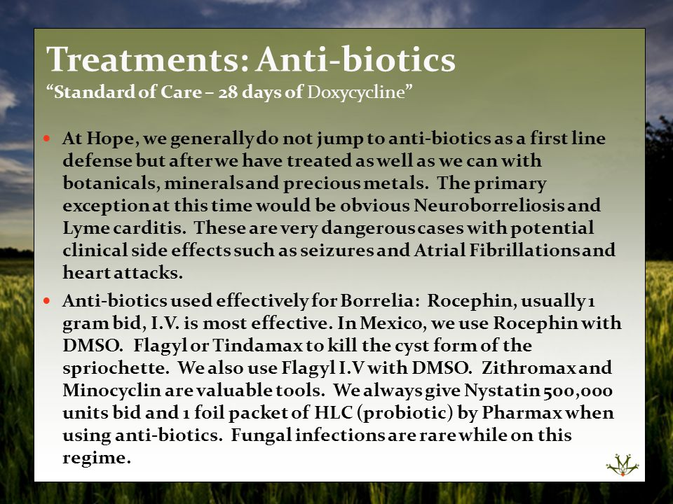 Treatments: Anti-biotics Standard of Care – 28 days of Doxycycline