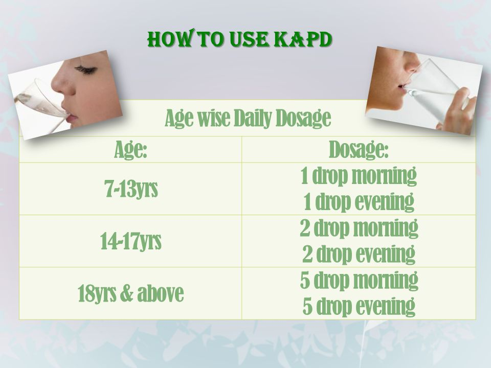 How to use KAPD Age wise Daily Dosage. Age: Dosage: 7-13yrs. 1 drop morning. 1 drop evening. 14-17yrs.