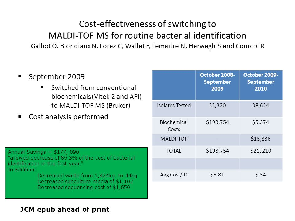 Cost-effectivenesss of switching to MALDI-TOF MS for routine bacterial identification Galliot O, Blondiaux N, Lorez C, Wallet F, Lemaitre N, Herwegh S and Courcol R