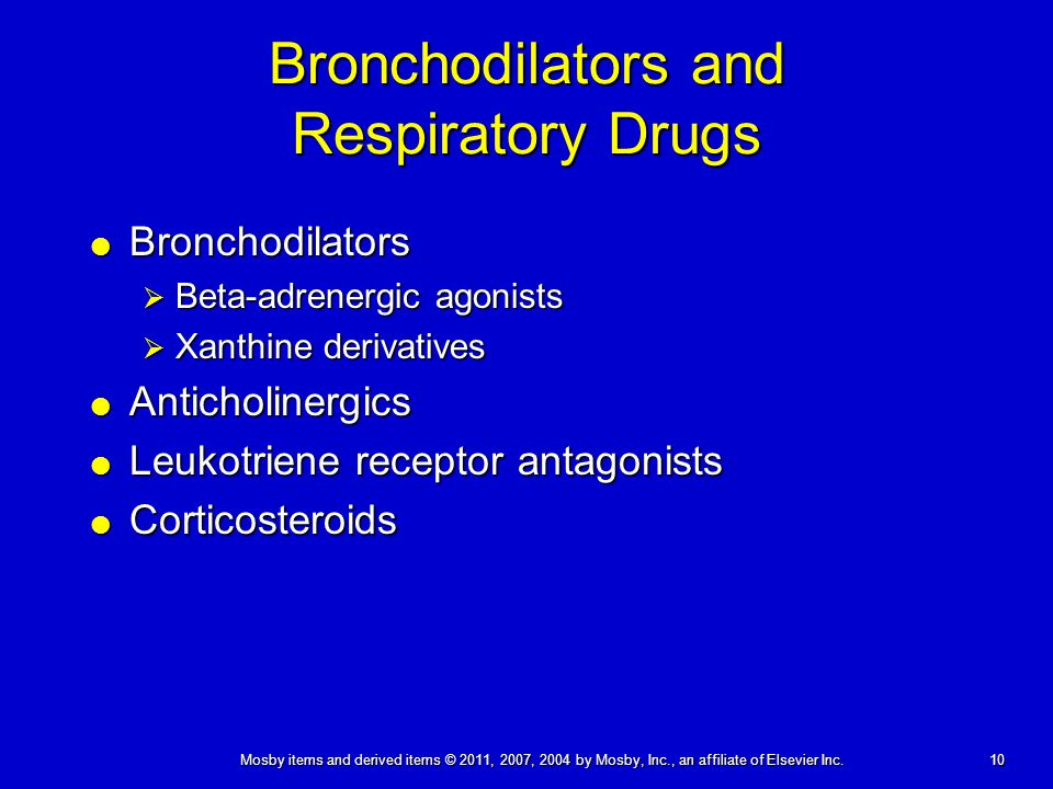 Bronchodilators and Respiratory Drugs