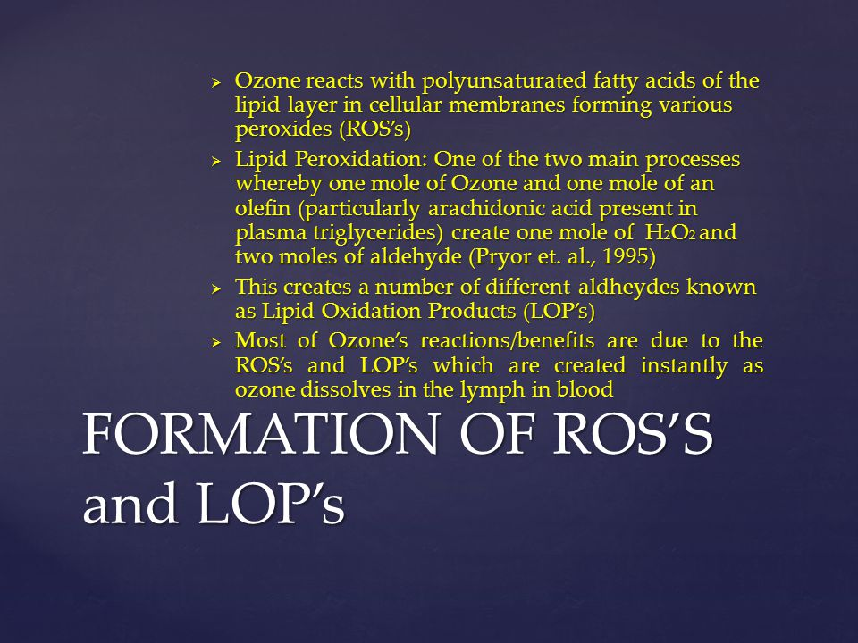 FORMATION OF ROS'S and LOP's