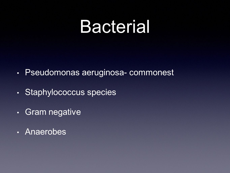 Bacterial Pseudomonas aeruginosa- commonest Staphylococcus species
