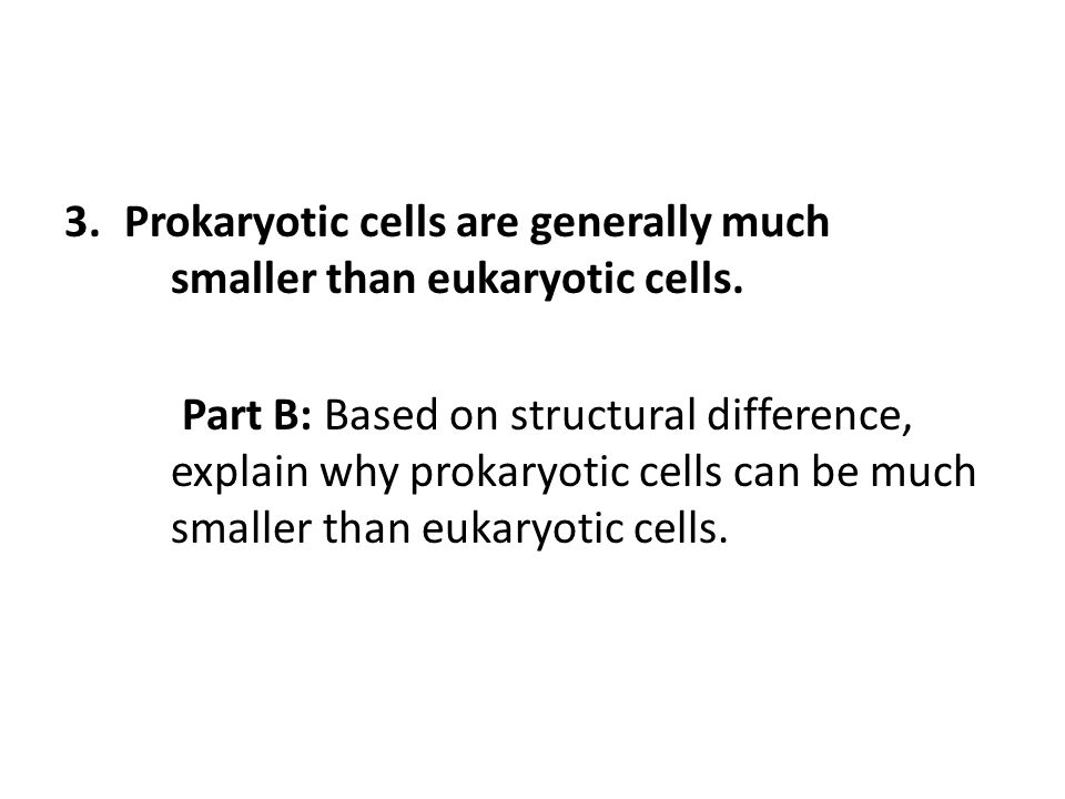 Prokaryotic cells are generally much smaller than eukaryotic cells.