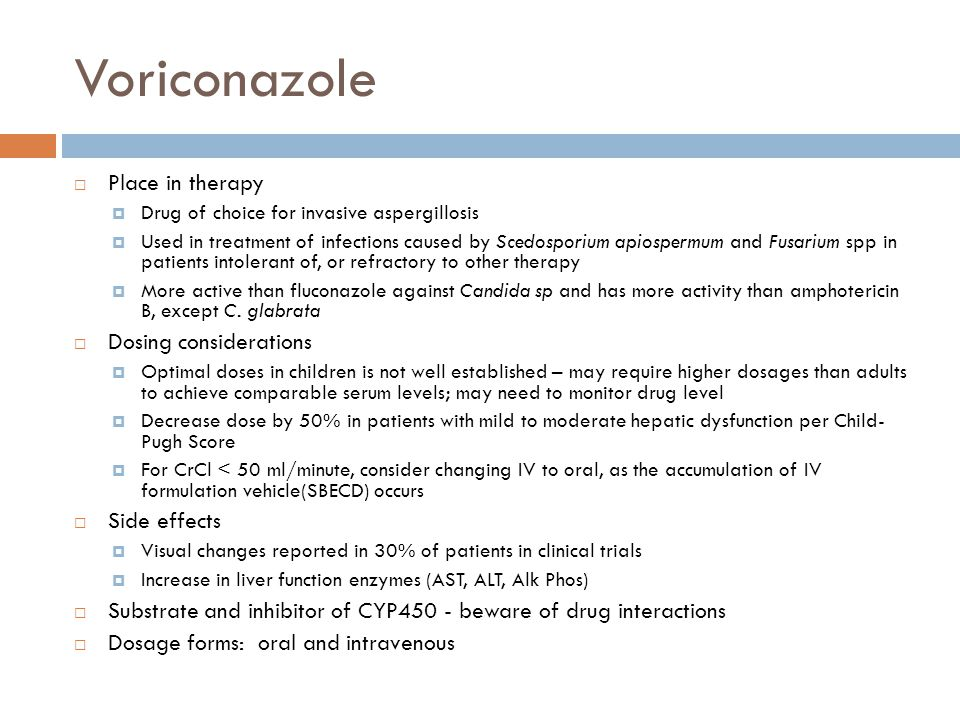 Voriconazole Place in therapy Dosing considerations Side effects