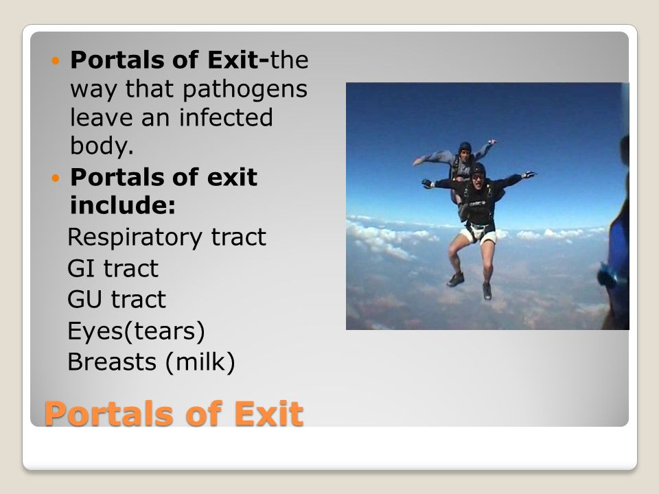 Portals of Exit-the way that pathogens leave an infected body.