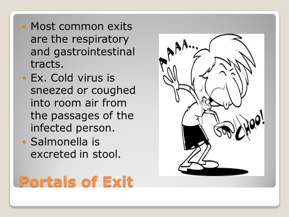 Most common exits are the respiratory and gastrointestinal tracts.