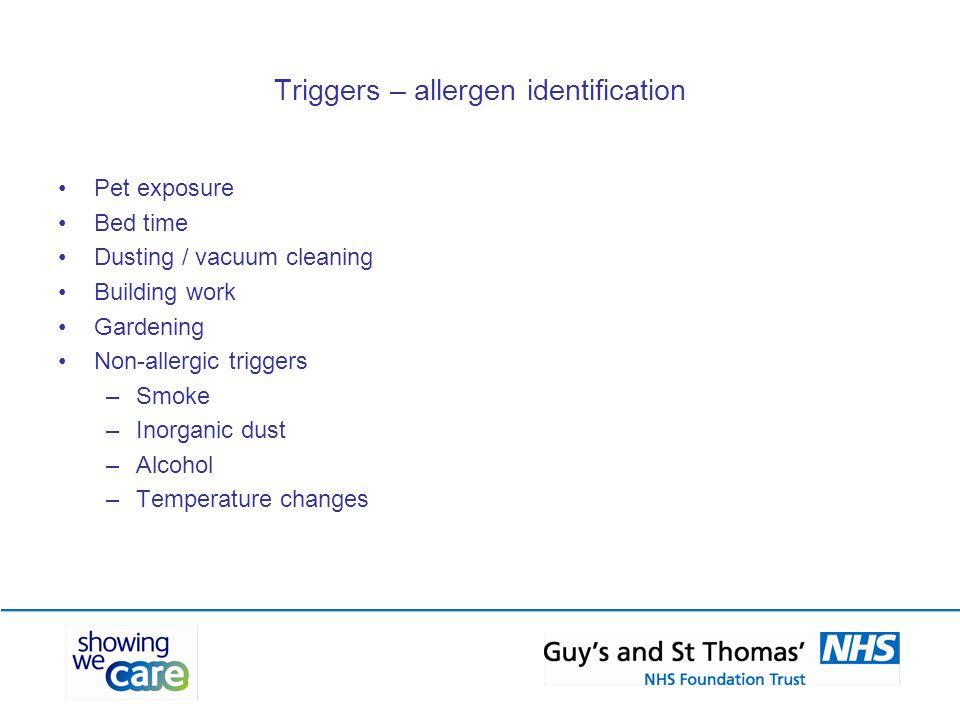 Triggers – allergen identification
