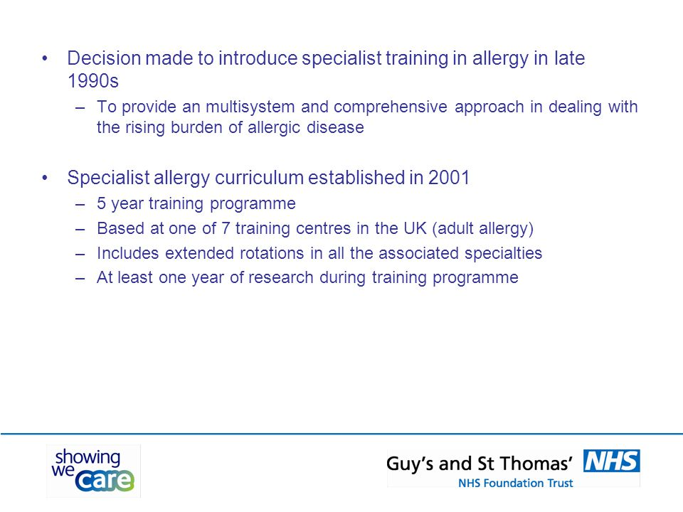 Specialist allergy curriculum established in 2001